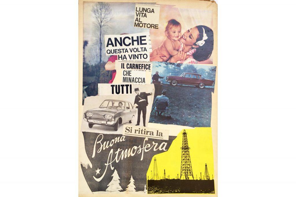 """LAMBERTO PIGNOTTI """"Buona atmosfera"""" - 1963 - collage su cartoncino 73x51,5 cm"""
