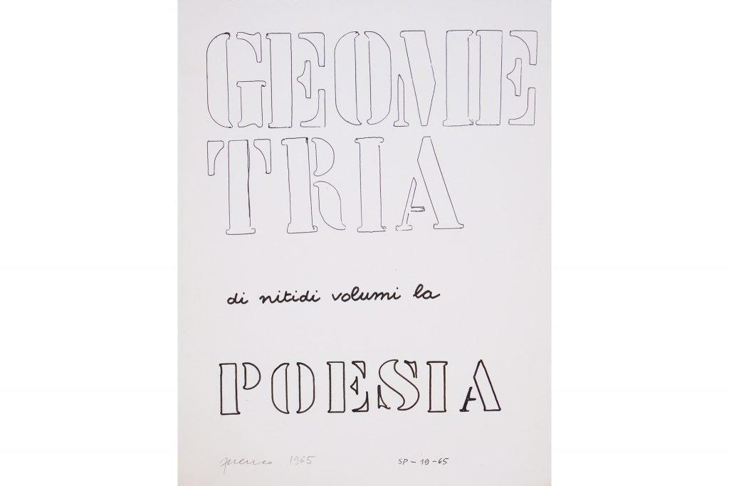 "SARENCO ""Geometria"" - 1965 - mixed media on paper 32.5X24 cm"