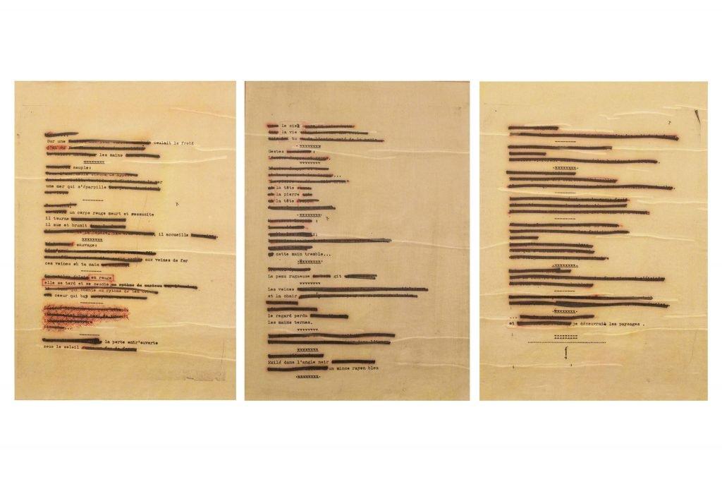 """JULIEN BLAINE """"Poeme en triptyque"""" - 1962 - feltro su stampa sotto cellophane 46x33 cm"""