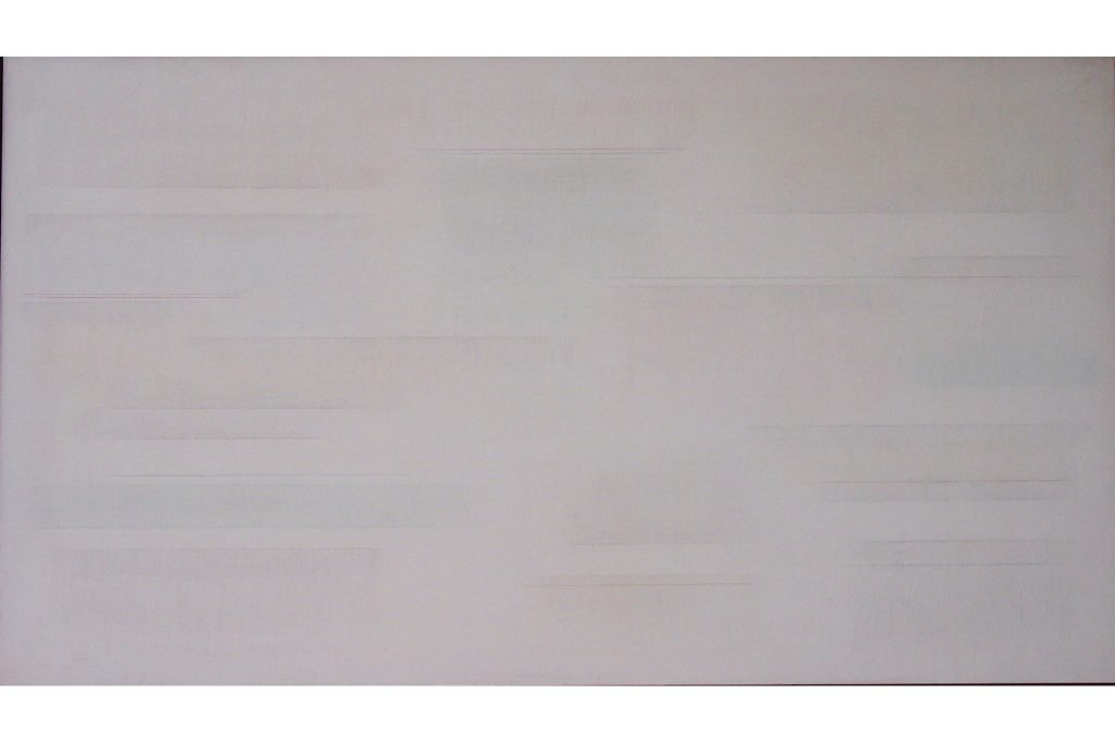 "RICCARDO GUARNERI ""Ritmi luce grigi"" - 1977 - mixed media on canvas 85x150 cm"