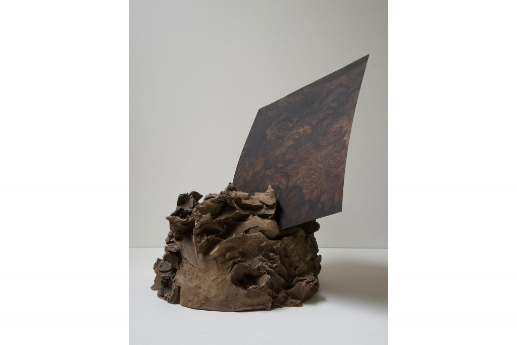 "ANTONIO VIOLETTA ""Specchio"" - 1983 - pottery, iron sheet, deadening paint h 75 cm"