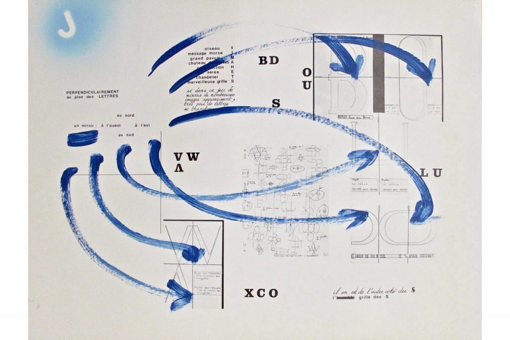 """JULIEN BLAINE """"Le plan des lettres"""" - 1982 - acrilico su stampa 46x48 cm"""