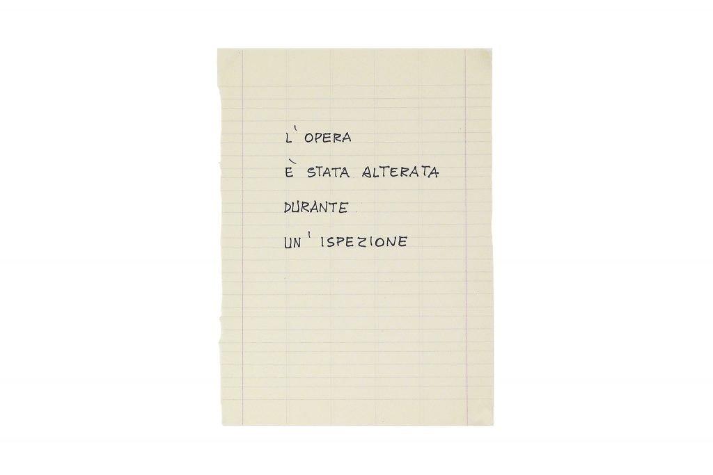 """GIUSEPPE CHIARI """"L'opera è stata alterata"""" - inchiostro su carta 20.5X15 cm"""