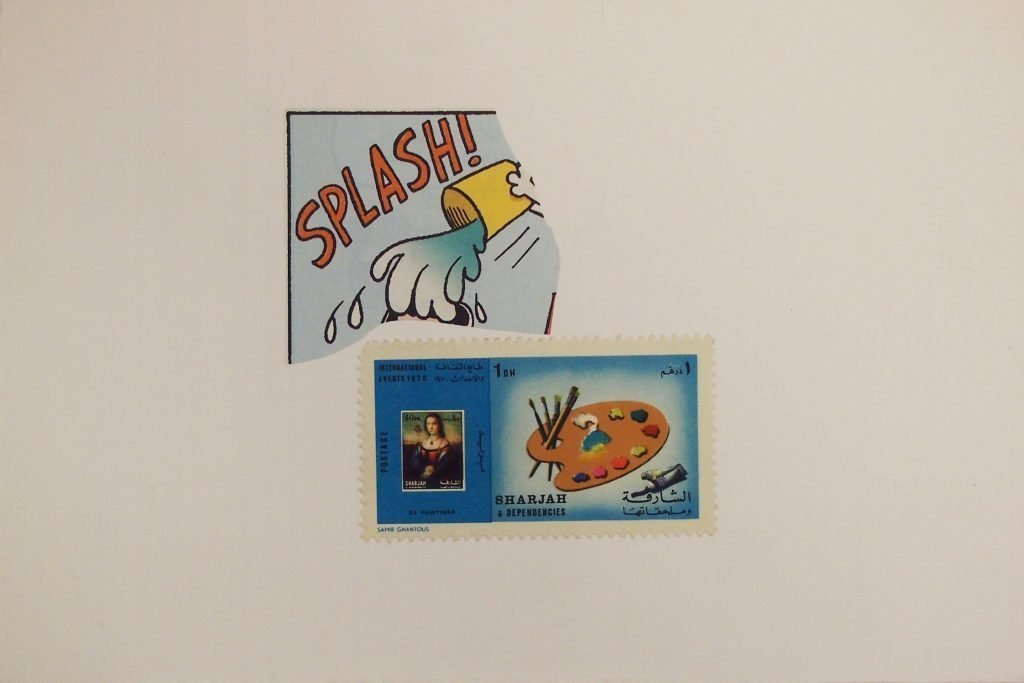 "LAMBERTO PIGNOTTI ""Splash"" - 1985 - collage on cardboard 9,7x15,5 cm"