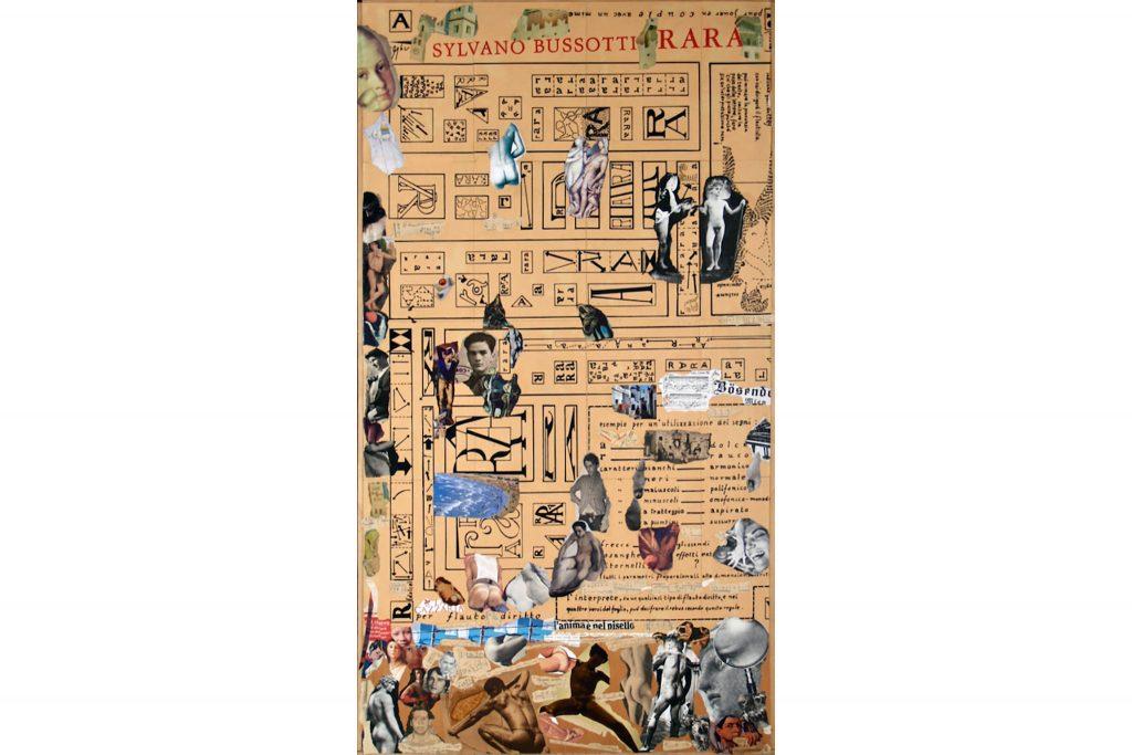 """SYLVANO BUSSOTTI """"Senza titolo"""" - anni 90 - collage su tavola RECTO 122x66 cm"""