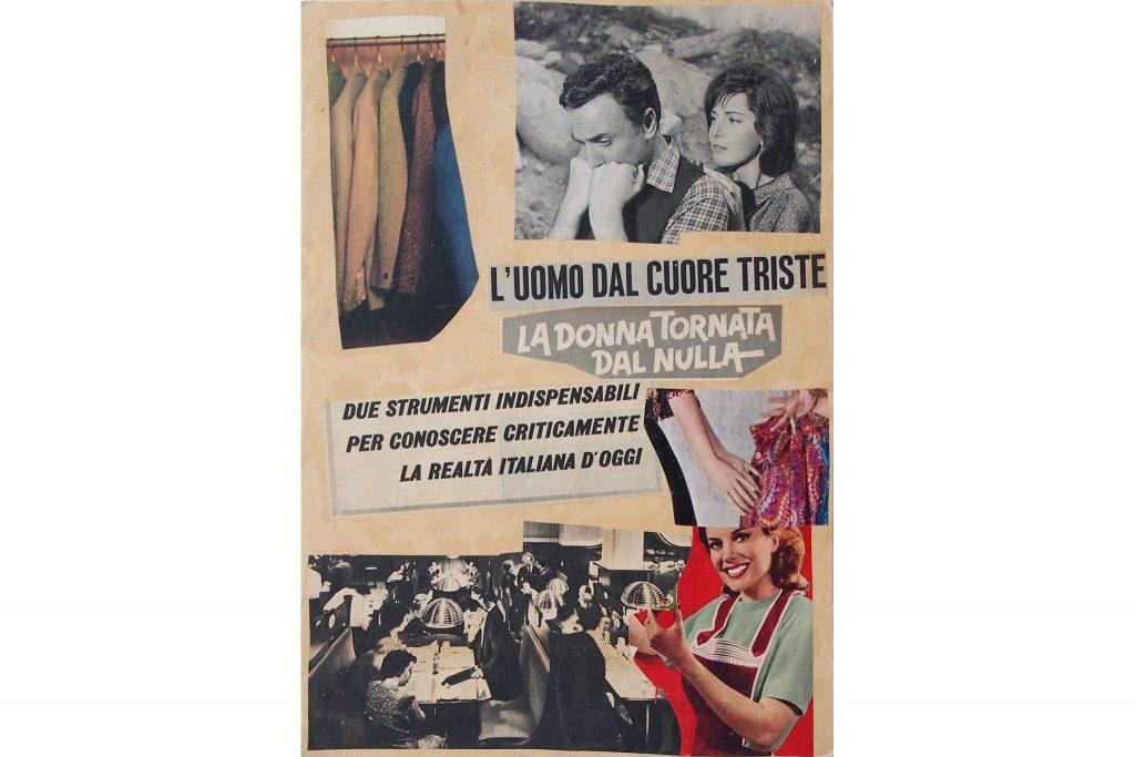 """LAMBERTO PIGNOTTI """"L'uomo dal cuore triste"""" - 1965 - collage su cartoncino 49,5X34,5 cm"""