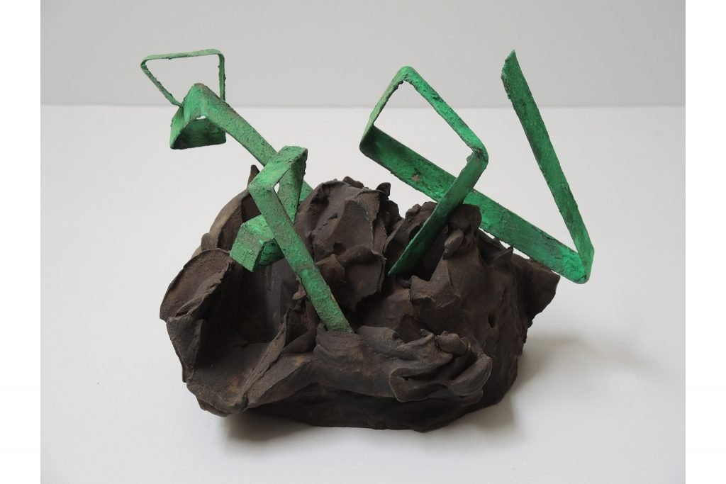 "ANTONIO VIOLETTA ""Primaterra"" - 1983 - pottery and iron 25x25x20 cm"