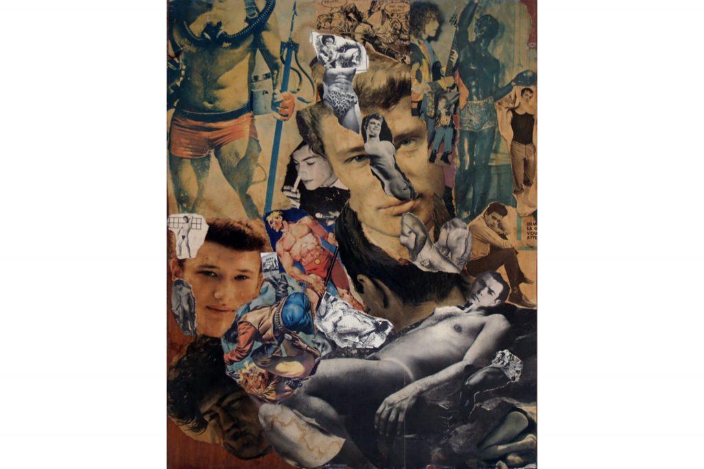 """SYLVANO BUSSOTTI """"Senza titolo"""" - anni '60 - collage su tavola 47,5x37,5 cm"""