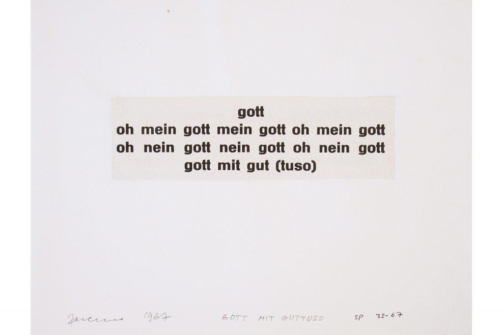 """SARENCO """"Gott mit"""" - 1967 - collage - 24X32.5 cm"""