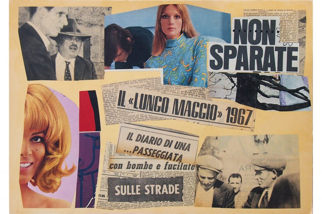 "LAMBERTO PIGNOTTI ""Non sparate"" - 1967 - collage on cardboard 49,5X34,5 cm"
