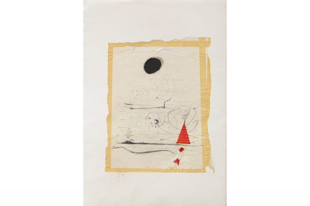 """MAGDALO MUSSIO """"Senza titolo"""" - 1974 - tecnica mista su carta 51x36 cm"""