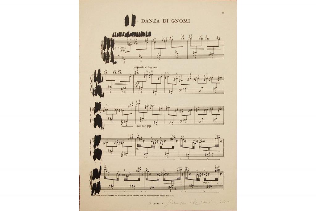 """GIUSEPPE CHIARI """"Spartito musicale XVI"""" - 1975 - inchiostro su pentagramma 31.3X23.3 cm"""
