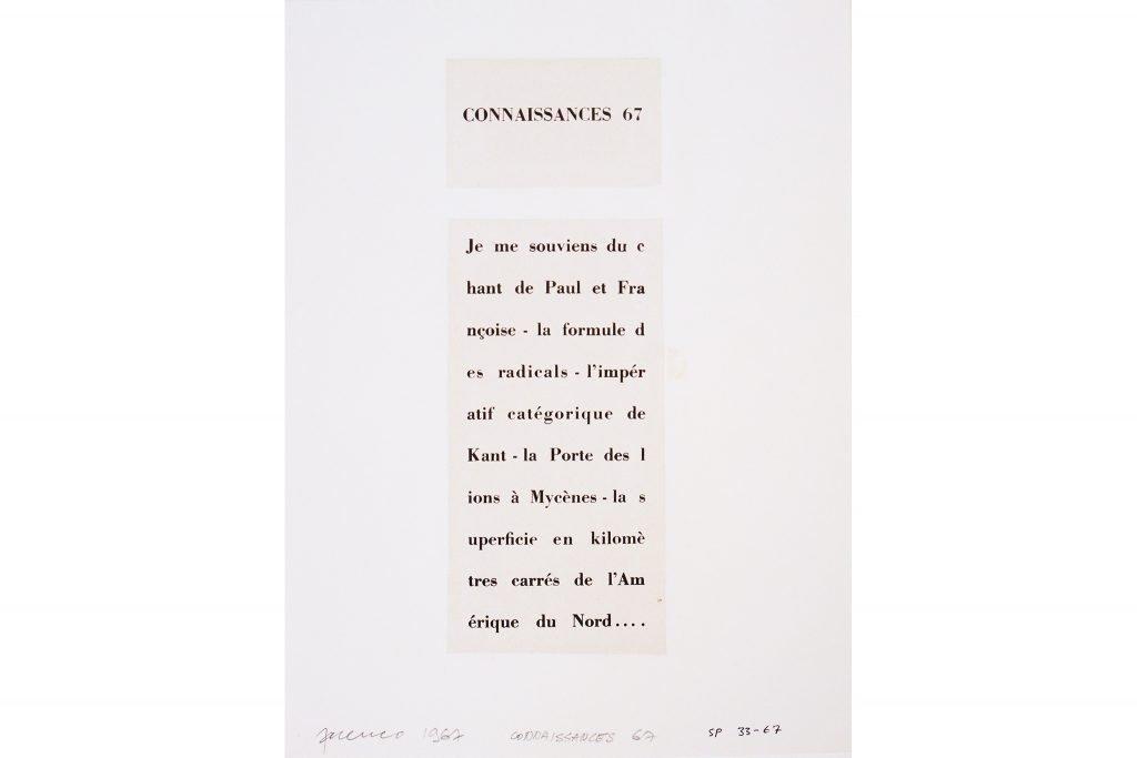 """SARENCO """"Connaissances"""" - 1967 - collage 32.5X24 cm"""