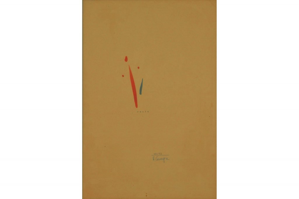 "UGO CARREGA ""Recte"" - 1963 - mixed media on paper 34X24 cm"