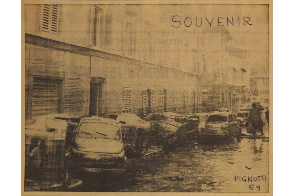 """LAMBERTO PIGNOTTI """"Souvenir -(VI)"""" - 1969 - pennarello su foglio di giornale 15,2x20 cm"""