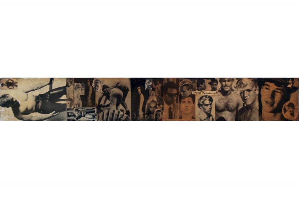 """SYLVANO BUSSOTTI """"Franz Shubert"""" - anni '60 - collage su legno di recupero 10,5x75,5 cm"""