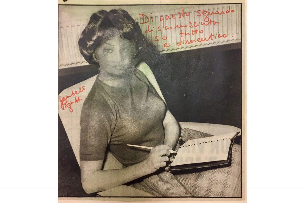 5---Di-questo-sguardo...-primi-anni-'70,-pennarello-su-carta-di-giornale,-26,4-x-25,4-cm