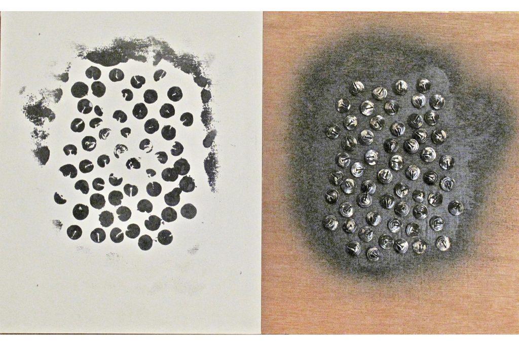 """JULIEN BLAINE """"Le o est omnipresent"""" - 1966 - inchiostro e puntine su tavola 26x42 cm"""