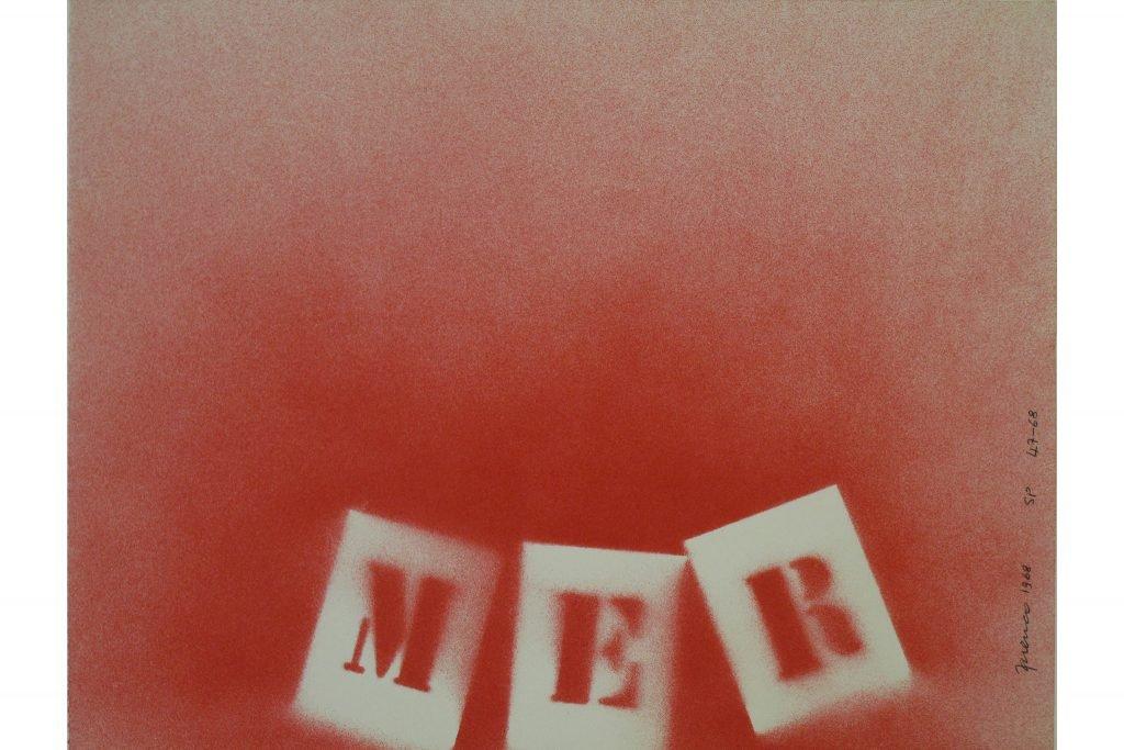 """SARENCO """"Mer (rosso)"""" - 1968 - tecnica mista su carta 24X32.5 cm"""