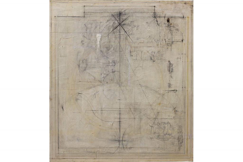 """MAGDALO MUSSIO """"Senza titolo"""" - 1982 - tecnica mista su tavola 125x110 cm"""