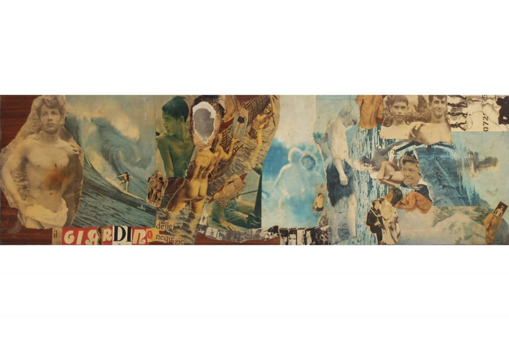 "SYLVANO BUSSOTTI ""Il giardino delle nequizie"" - 60s - collage on reclaimed wood 21,3x75,5 cm"