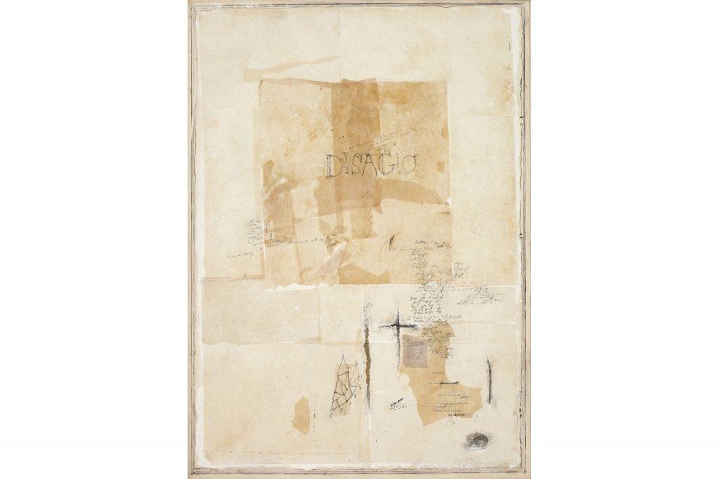 "MAGDALO MUSSIO ""Disagio"" - 1984 - tecnica mista su tavola 70x50 cm"