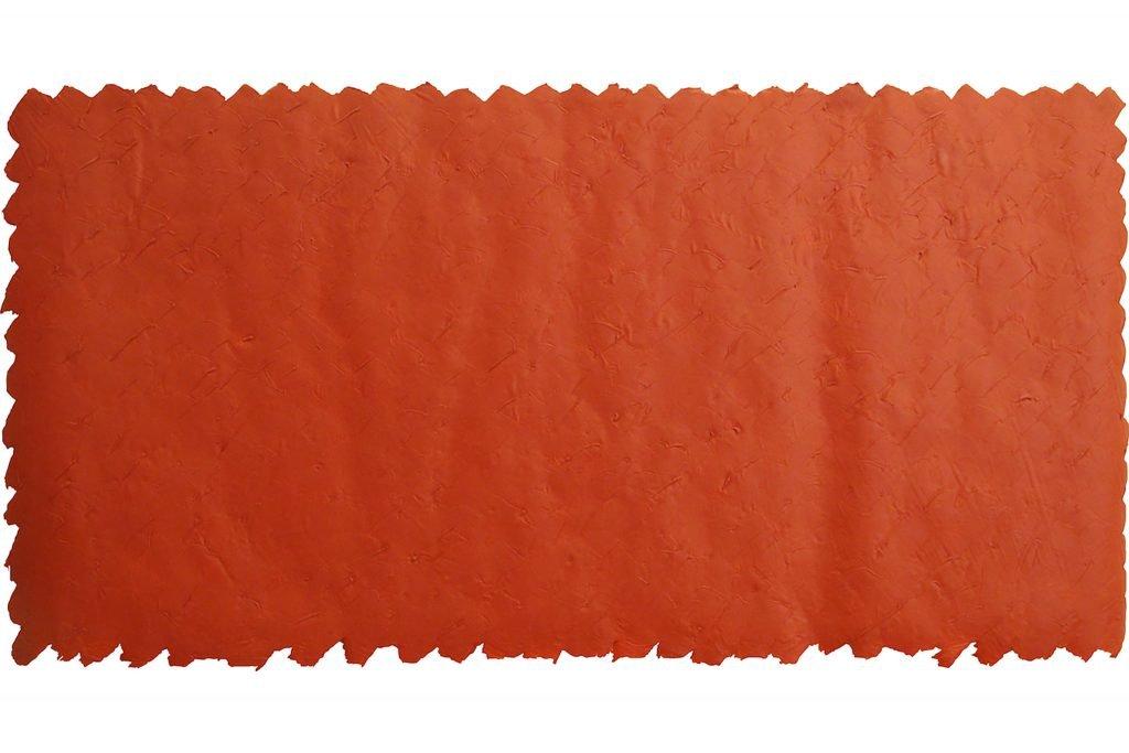 """ANTONIO SCACCABAROZZI """"Essenziale rosso"""" - 1990 - acrilico rosso e mastice 115,5x239,5 cm"""