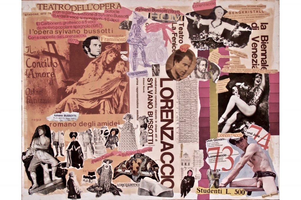 """SYLVANO BUSSOTTI """"Lorenzaccio"""" - anni '70 - collage su cartone 66x86 cm"""