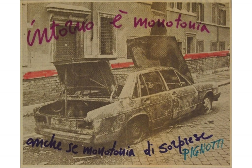"LAMBERTO PIGNOTTI ""Intorno è monotonia"" - 70s - intervention on magazine paper -14X17,6 cm"