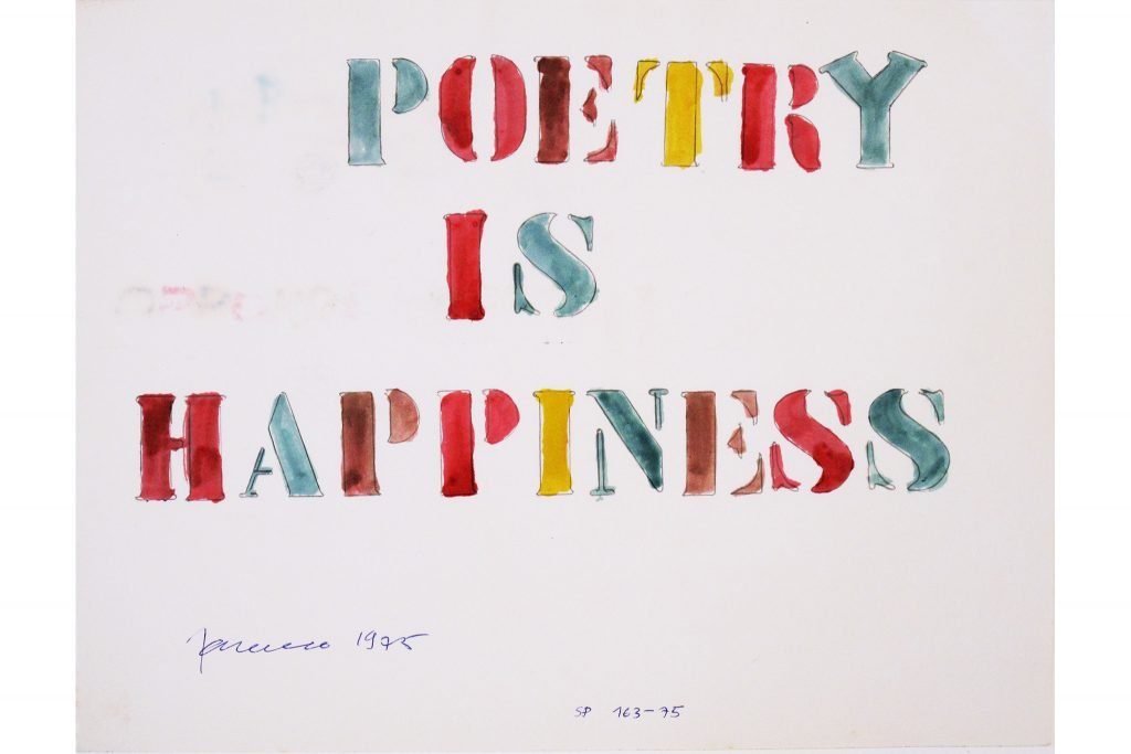 "SARENCO ""Poetry is happiness"" - 1975 - collage on paper 24X32.5 cm"
