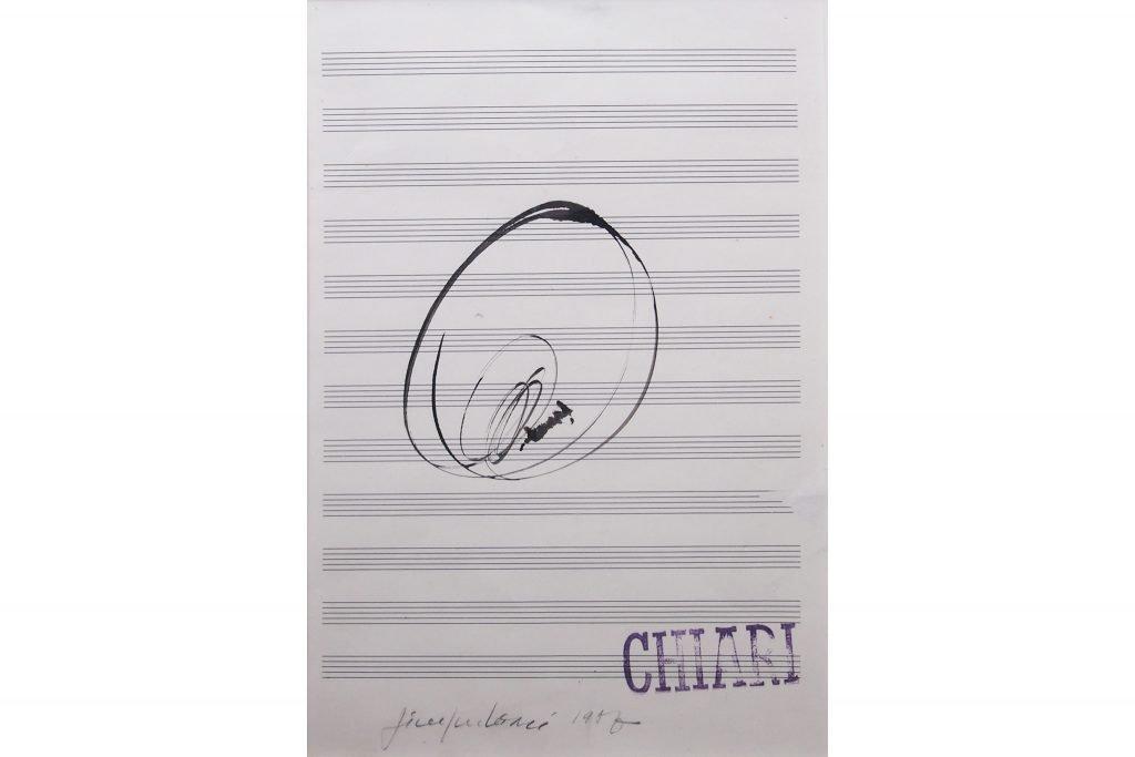 """GIUSEPPE CHIARI """"Senza titolo"""" - 1985 - inchiostro su pentagramma 33X22 cm"""