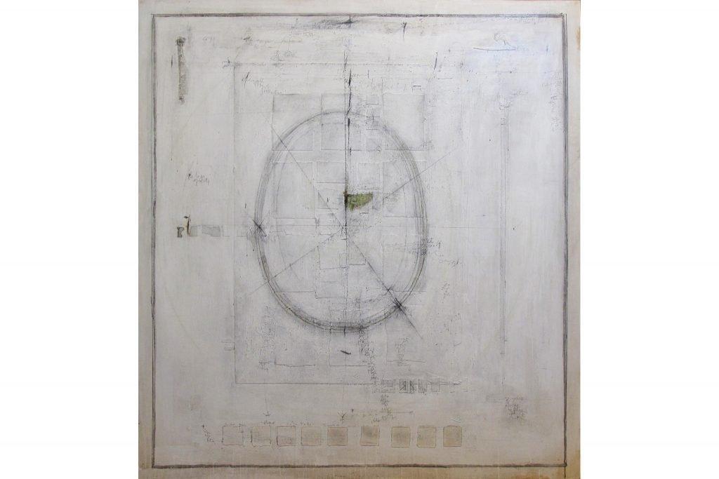 """MAGDALO MUSSIO """"Senza titolo"""" - anni '80 - tecnica mista su tavola 150x140 cm"""