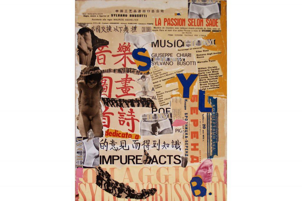 """SYLVANO BUSSOTTI """"Impure acts"""" - anni '70 - collage su tavola 74x54 cm"""