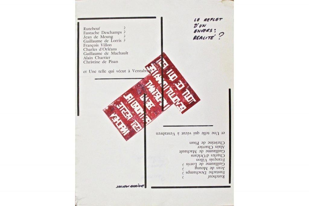 """JULIEN BLAINE """"Tout ce qui est révolutionnaire"""" - 1972 - inchiostro su stampa 44x33 cm"""