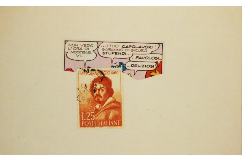 """LAMBERTO PIGNOTTI """"Caravaggio"""" - 1985 - collage su cartoncino 9,7x15,5 cm"""