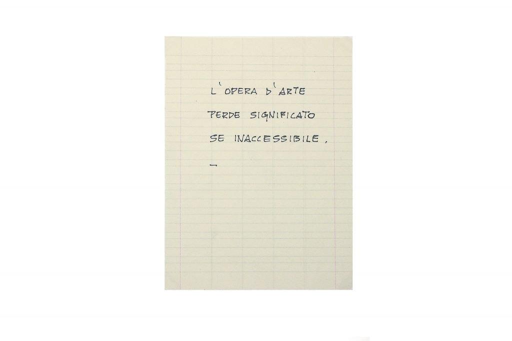 """GIUSEPPE CHIARI """"L'opera d'arte perde di significato se inaccessibile"""" inchiostro su carta 20.5X15 cm"""