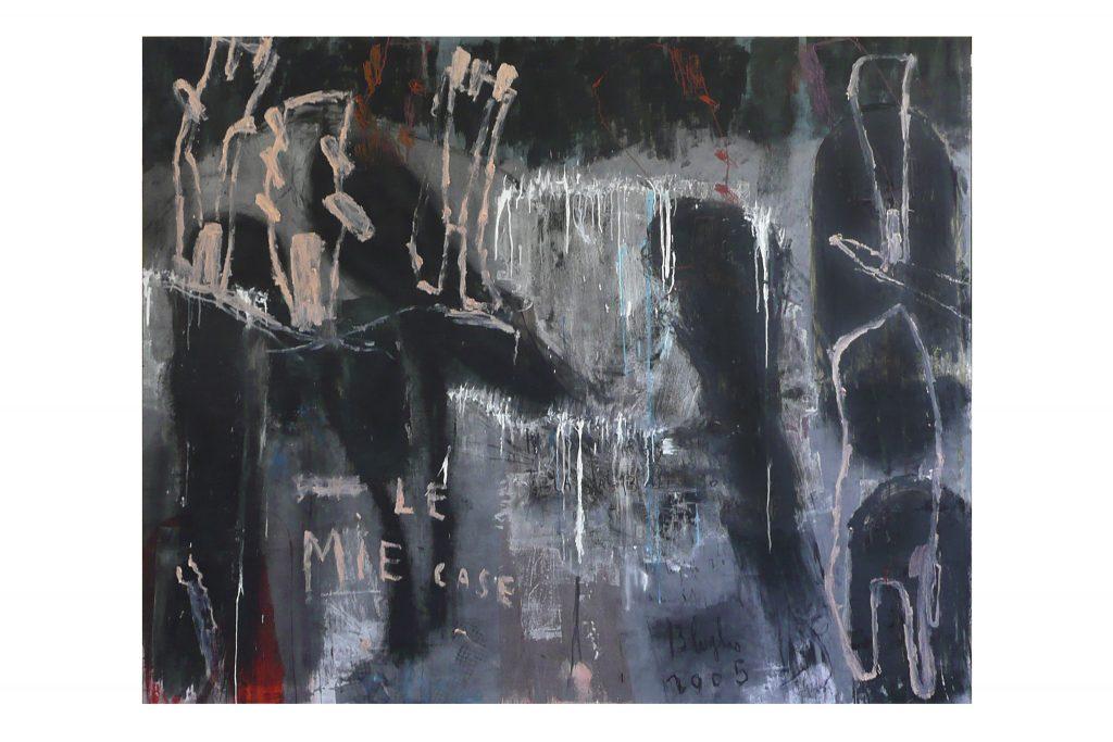"""ARCANGELO """"Le mie case"""" - 2005 - tecnica mista su tela 174x217 cm"""