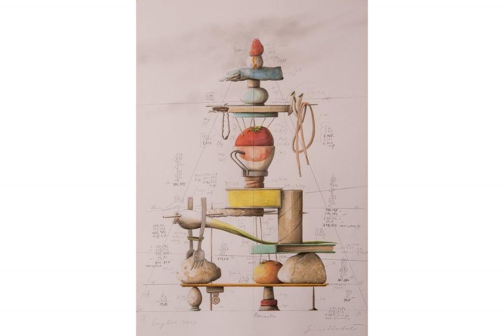"""SIMONE RACHELI """"Pesi ed equilibri"""" - luglio 2015 - acquerello e grafite su carta 50X35 cm"""
