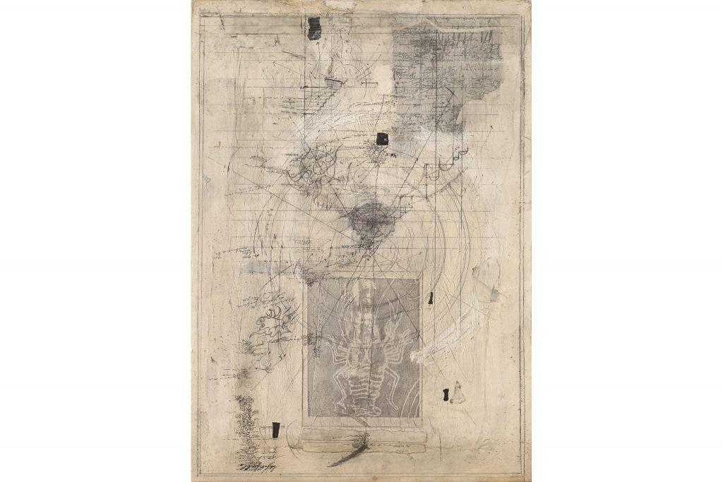 """MAGDALO MUSSIO """"Senza titolo """" - 1987 - tecnica mista su cartone 90x60 cm"""