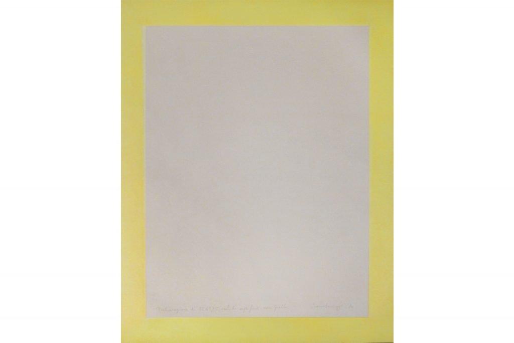 """ANTONIO SCACCABAROZZI """"Dichiarazione di 1261,75 cmc di superficie non gialla"""" -1980 - acquerello su carta 50X40.7 cm"""