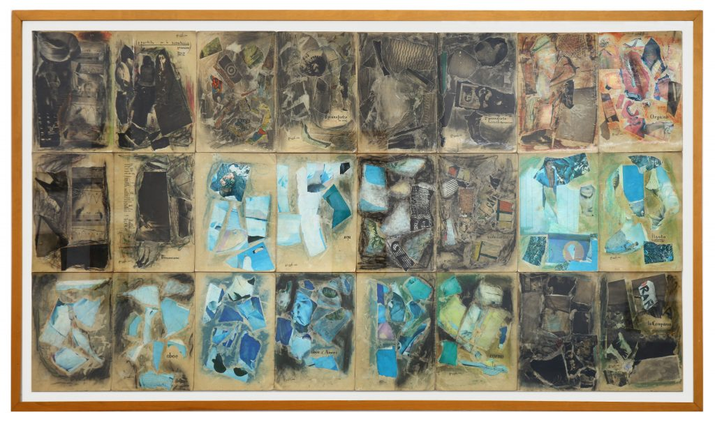 "SYLVANO BUSSOTTI ""La Passion selon Sade"" - 1965 - collage on music sheet covers - 114x232 cm"