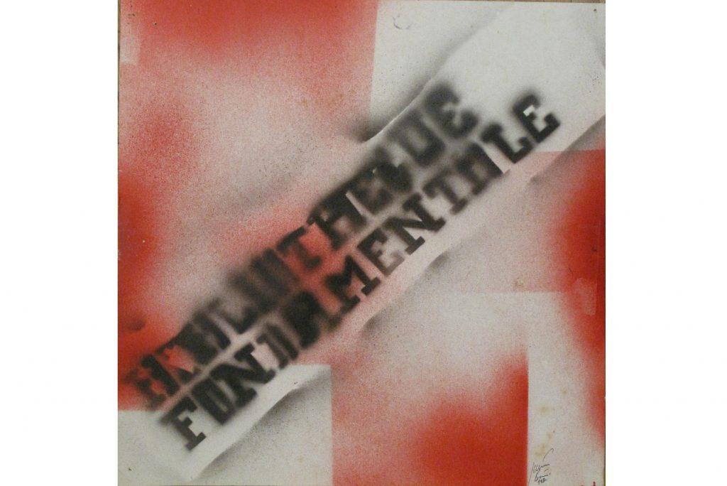 """JULIEN BLAINE """"Bibliotheque Fondamentale"""" -1983 acrilico su carta 36x36 cm"""