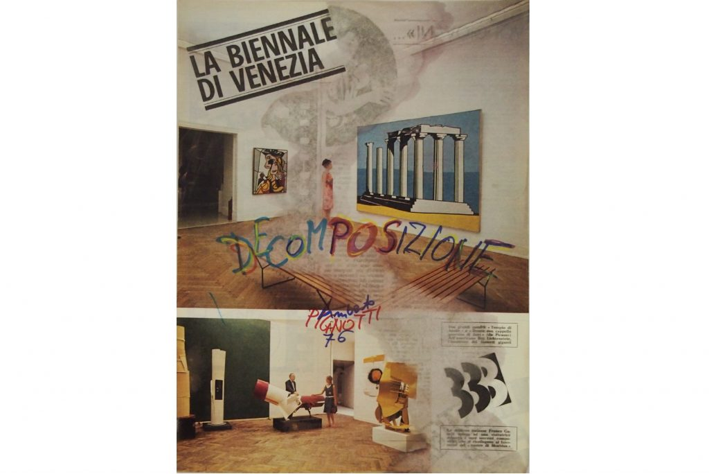 "LAMBERTO PIGNOTTI ""Decomposizione"" -1976 - intervention on magazine paper - 33,7X25 cm"