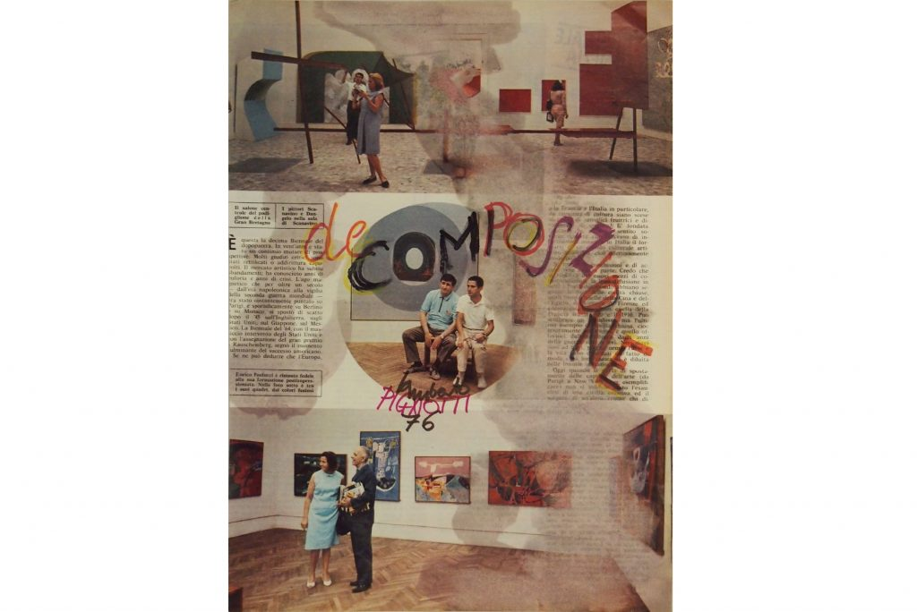 "LAMBERTO PIGNOTTI ""Decomposizione (II)"" - 1976 - intervention on magazine paper - 33,5X24,1 cm"