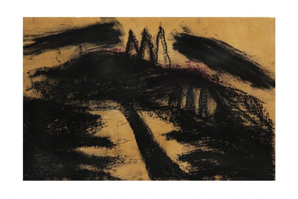 "ARCANGELO ""Foresta nera"" - 1985 - tecnica mista su cartone 27x40.5 cm"