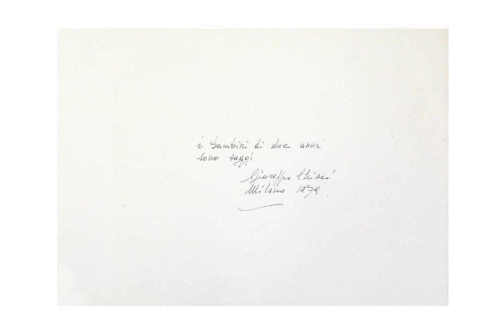 """GIUSEPPE CHIARI """"I bambini di due anni sono saggi"""" - 1979 - inchiostro su carta - 35X50 cm"""