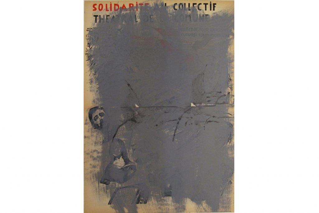 "JULIEN BLAINE ""Le monde libertaire""- 1984 - acrilico su stampa 44x32 cm"