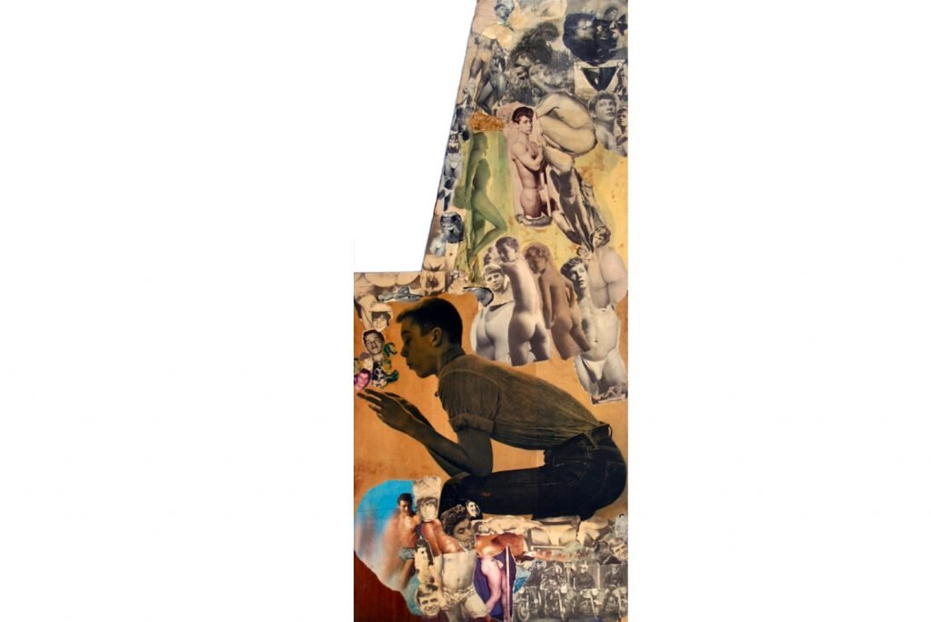 "SYLVANO BUSSOTTI ""Senza titolo"" - 60s - collage on reclaimed wood 123x60 cm"