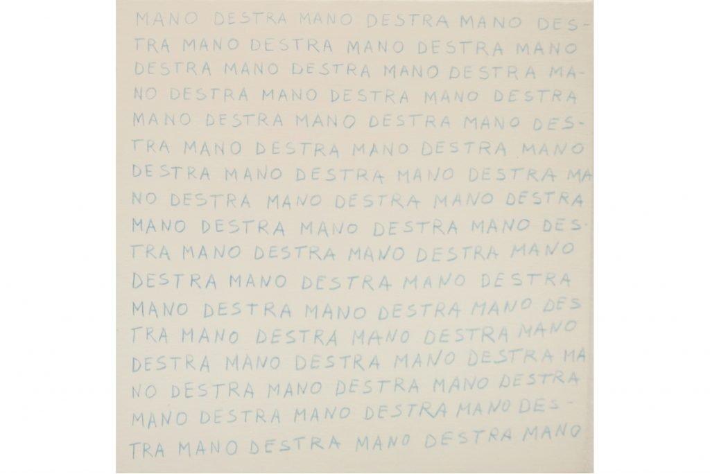 """ANTONIO SCACCABAROZZI """"Una condizione particolare - mano destra"""" - 1979 - matita blu su tela 40X40 cm"""