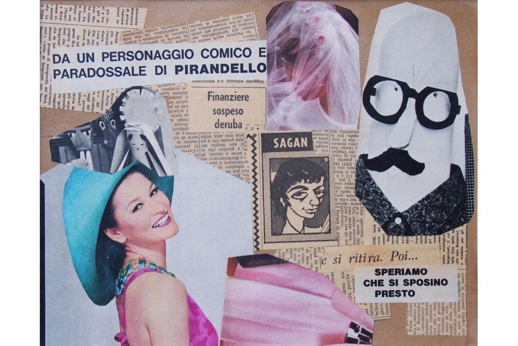 """LAMBERTO PIGNOTTI """"Speriamo che si sposino presto"""" - 1965 - collage su cartoncino 22,5x29 cm"""